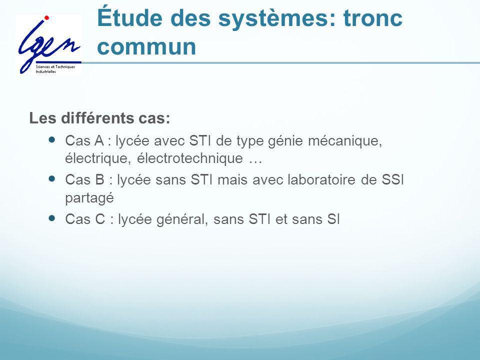 Étude des systèmes: tronc commun