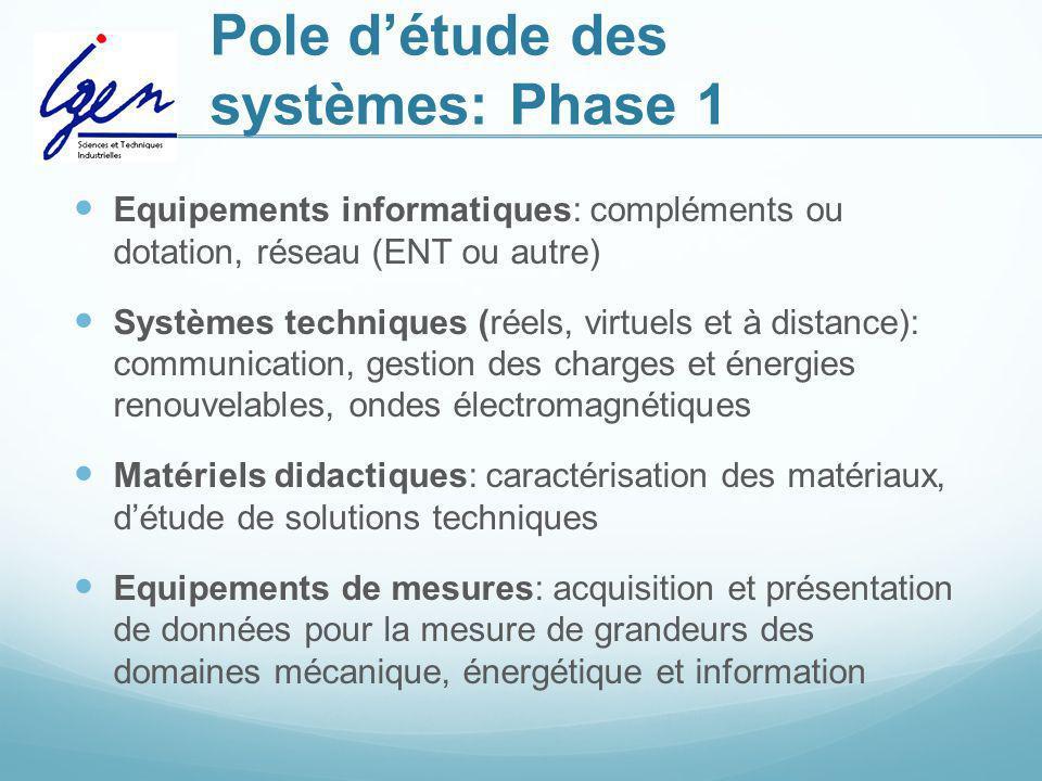 Pole d'étude des systèmes: Phase 1