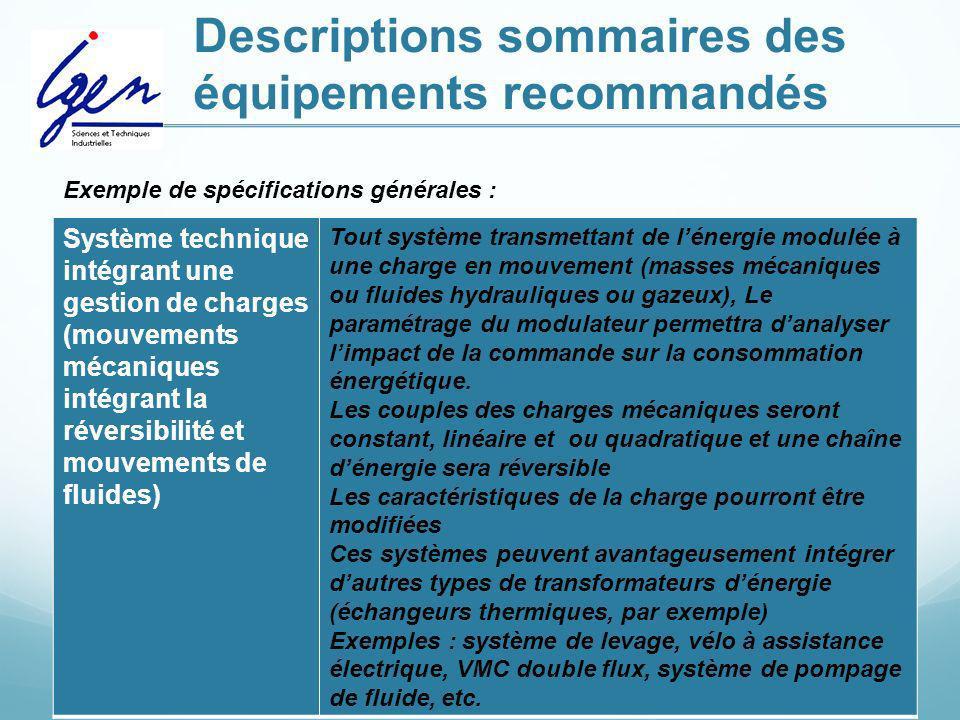 Descriptions sommaires des équipements recommandés