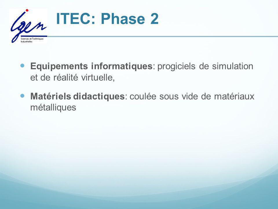 ITEC: Phase 2Equipements informatiques: progiciels de simulation et de réalité virtuelle,