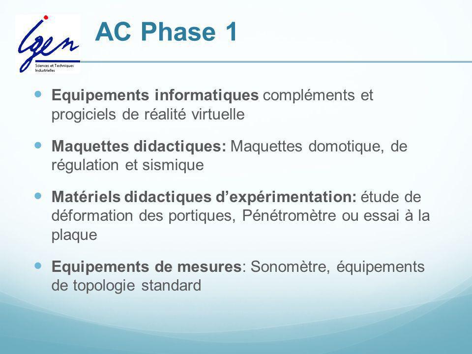 AC Phase 1 Equipements informatiques compléments et progiciels de réalité virtuelle.