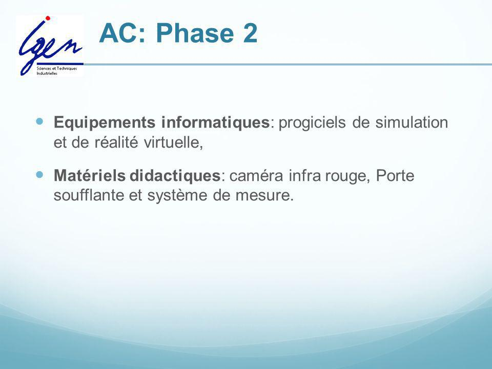 AC: Phase 2 Equipements informatiques: progiciels de simulation et de réalité virtuelle,