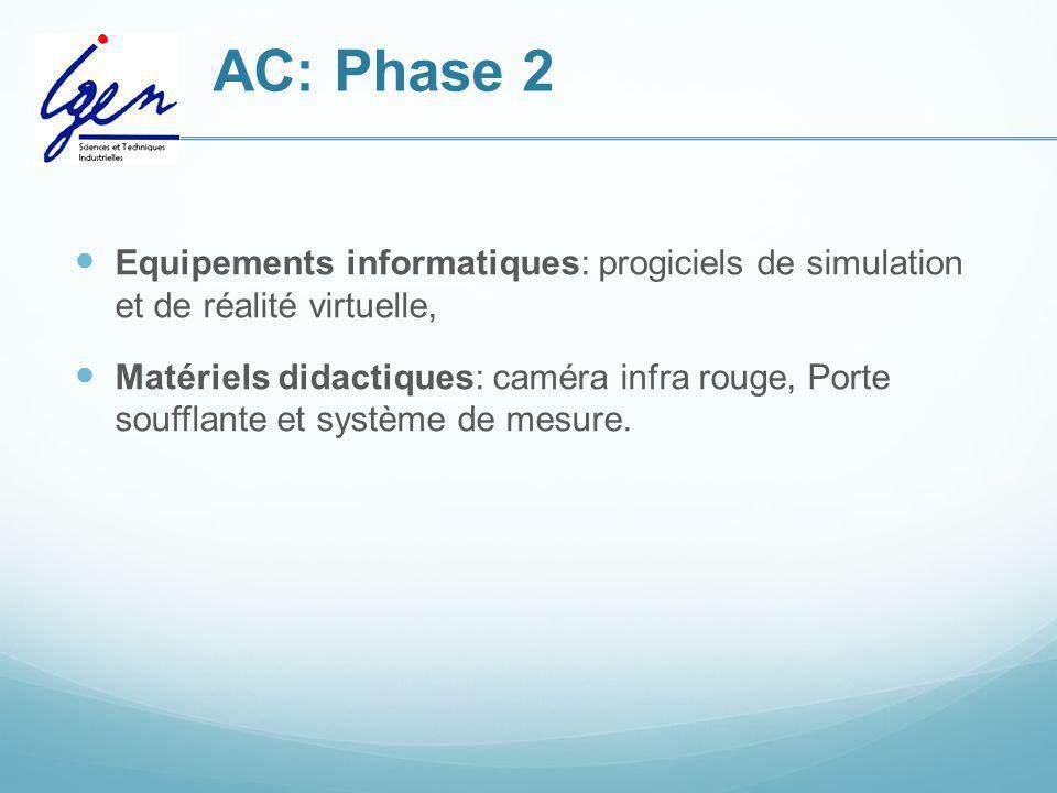 AC: Phase 2Equipements informatiques: progiciels de simulation et de réalité virtuelle,