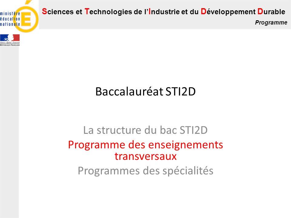Baccalauréat STI2D La structure du bac STI2D
