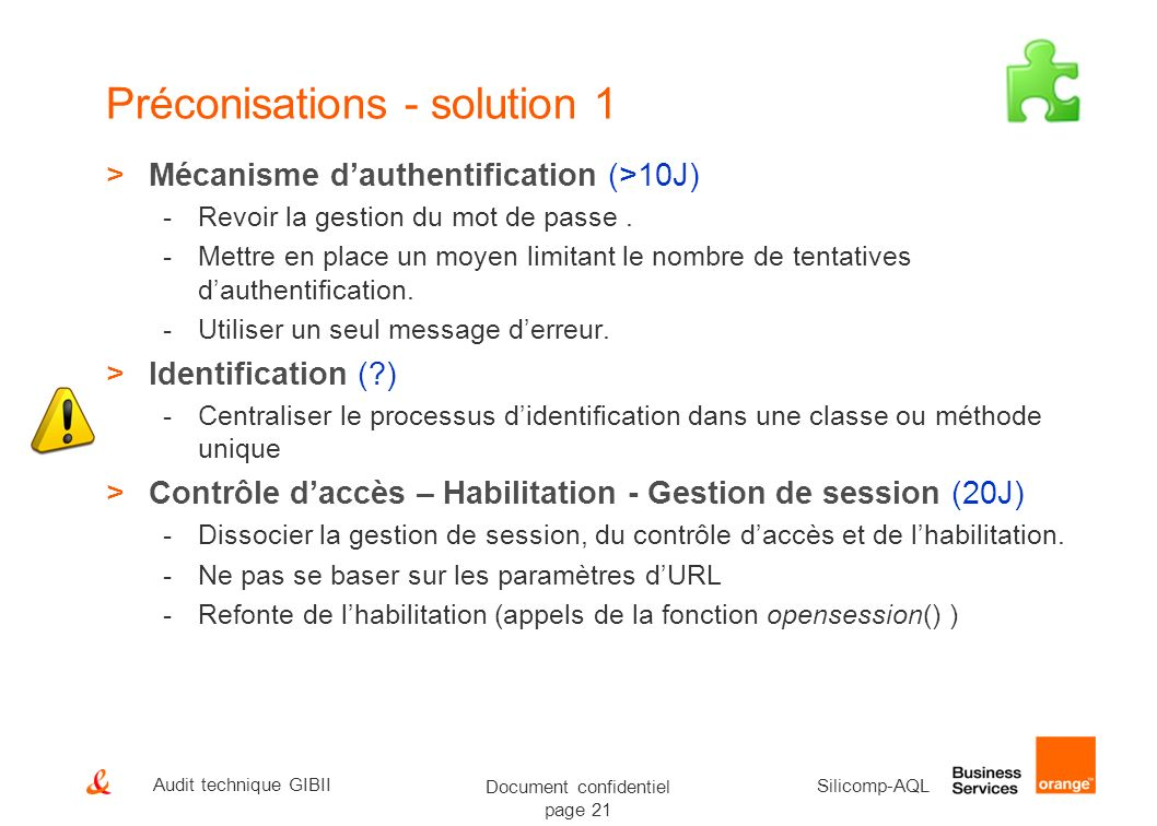Préconisations - solution 1