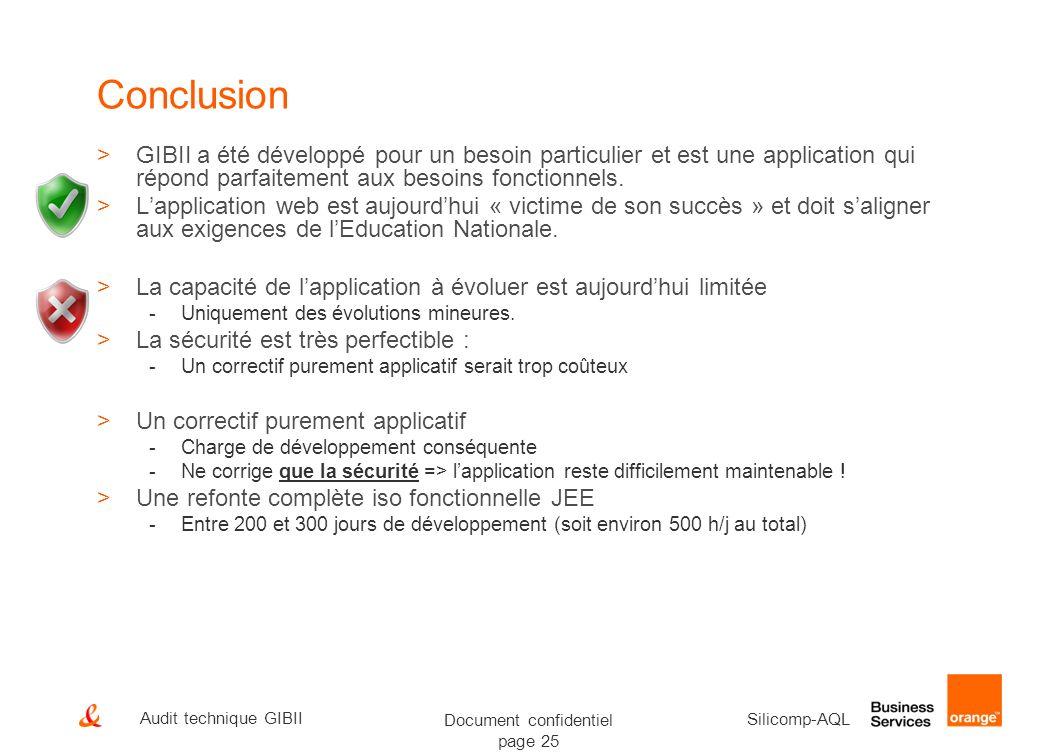 Conclusion GIBII a été développé pour un besoin particulier et est une application qui répond parfaitement aux besoins fonctionnels.