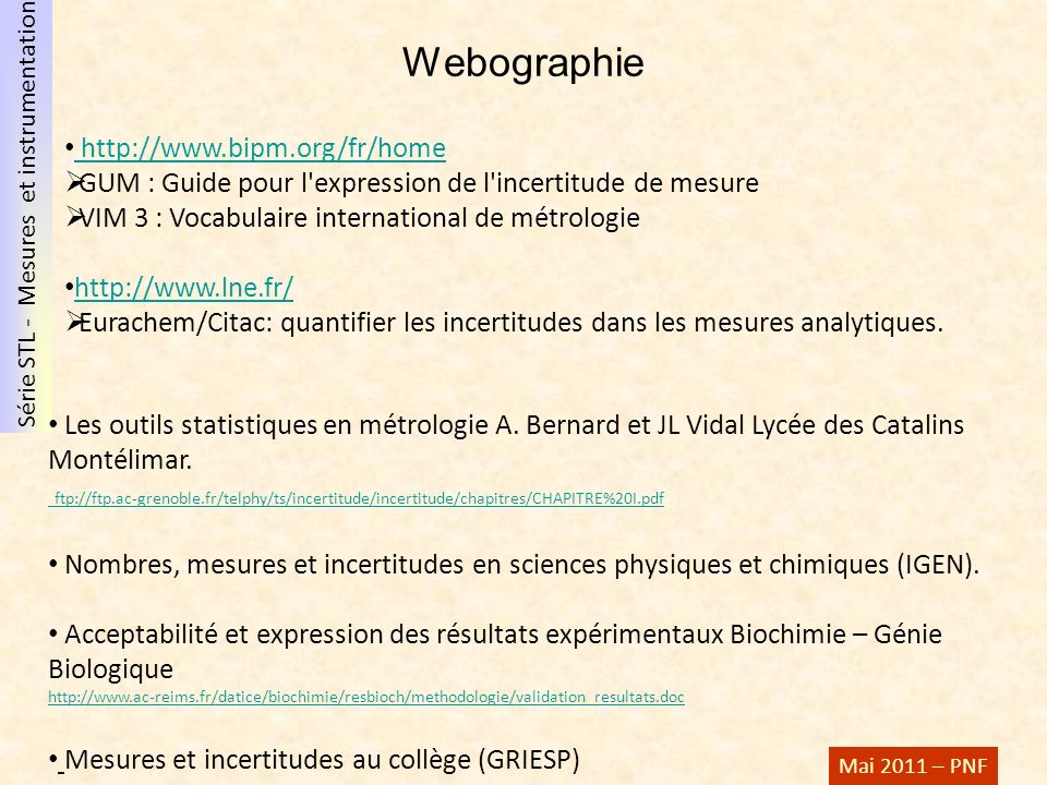 Webographie http://www.bipm.org/fr/home