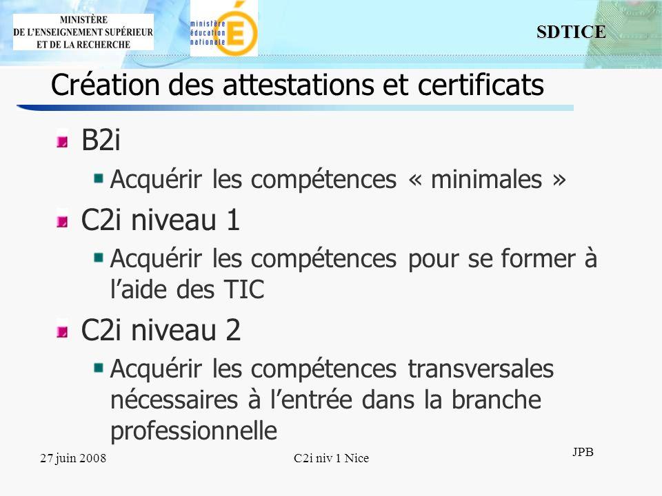 Création des attestations et certificats