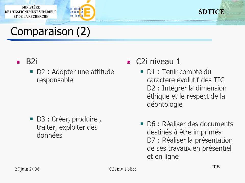 Comparaison (2) B2i C2i niveau 1 D2 : Adopter une attitude responsable