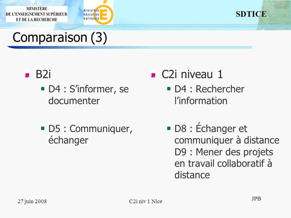 Comparaison (3) B2i C2i niveau 1 D4 : S'informer, se documenter