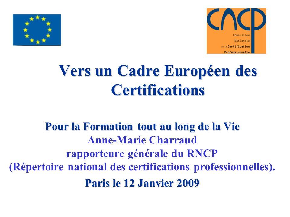 Vers un Cadre Européen des Certifications
