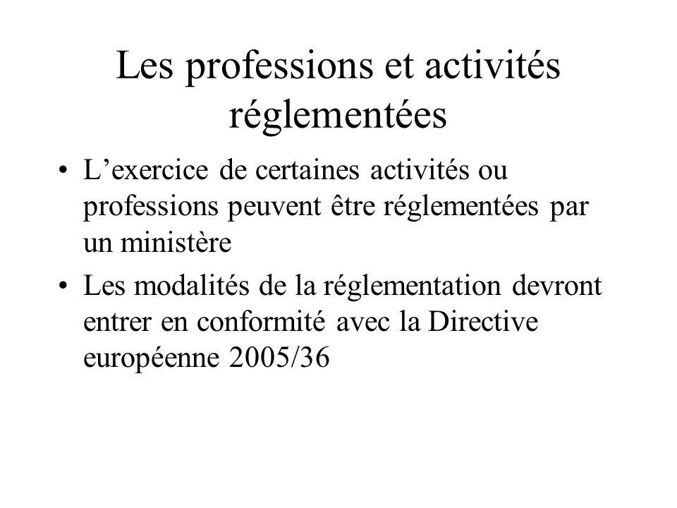 Les professions et activités réglementées