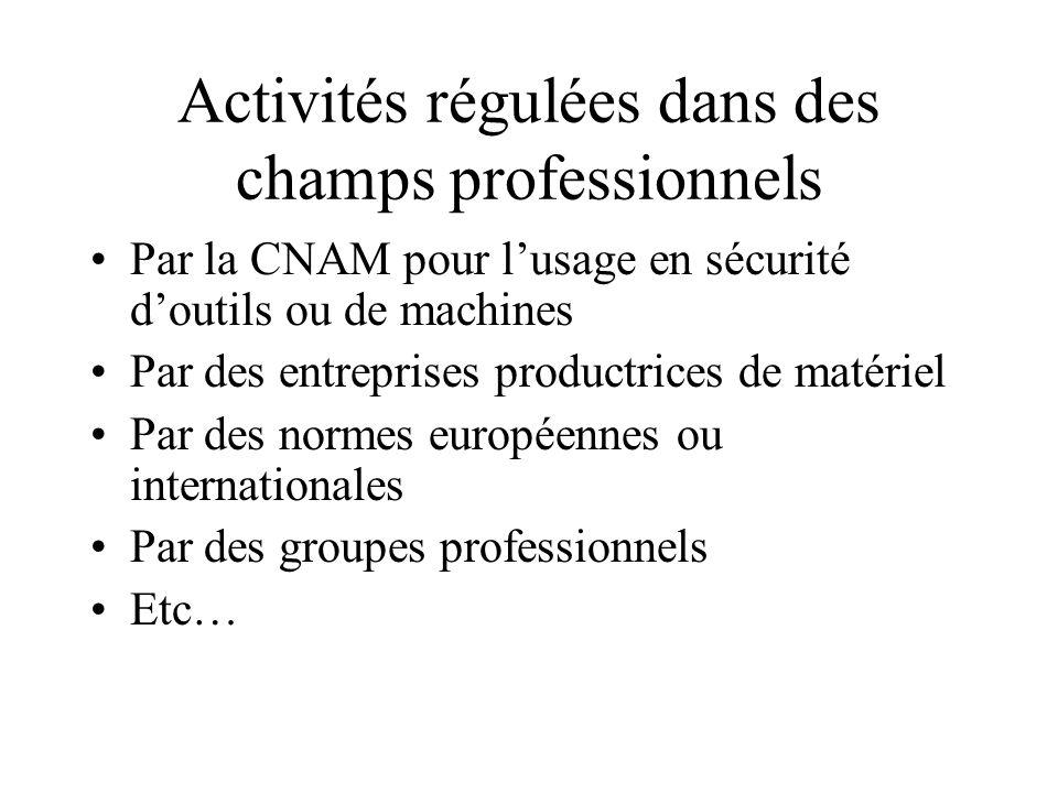 Activités régulées dans des champs professionnels