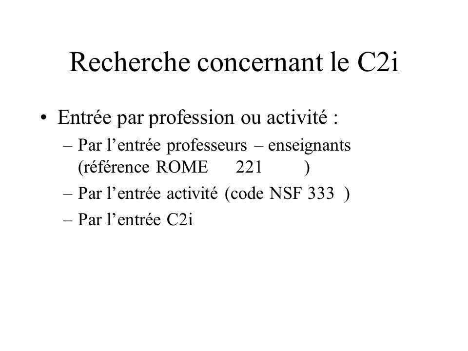 Recherche concernant le C2i