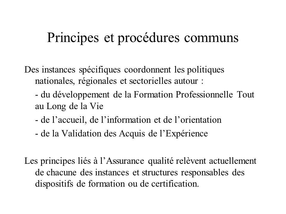 Principes et procédures communs