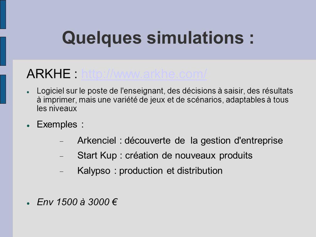 Quelques simulations :