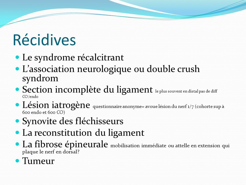 Récidives Le syndrome récalcitrant