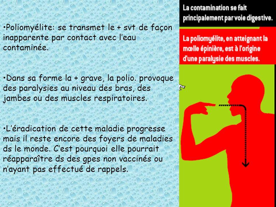 Poliomyélite: se transmet le + svt de façon inapparente par contact avec l'eau contaminée.
