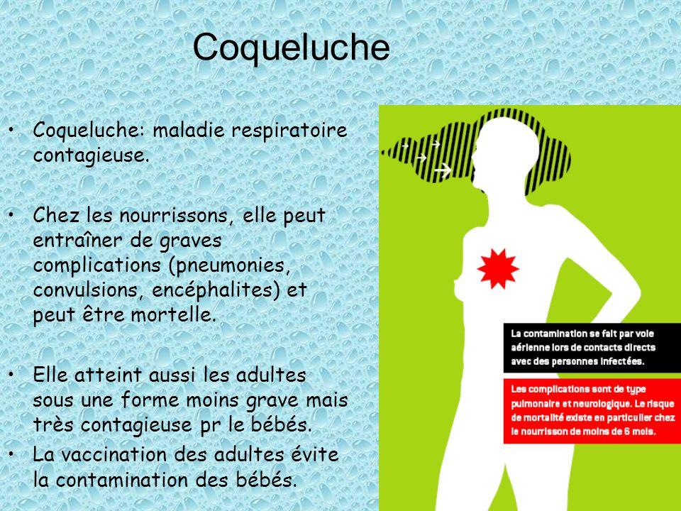Coqueluche Coqueluche: maladie respiratoire contagieuse.
