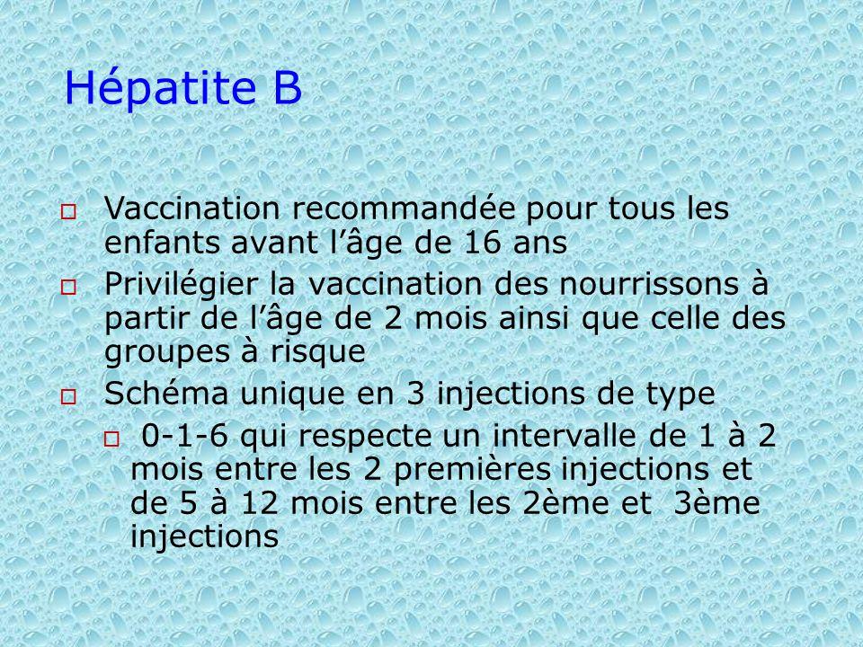Hépatite BVaccination recommandée pour tous les enfants avant l'âge de 16 ans.