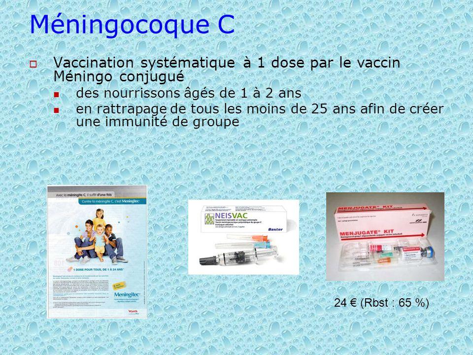 Méningocoque C Vaccination systématique à 1 dose par le vaccin Méningo conjugué. des nourrissons âgés de 1 à 2 ans.