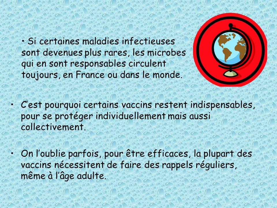 Si certaines maladies infectieuses sont devenues plus rares, les microbes qui en sont responsables circulent toujours, en France ou dans le monde.