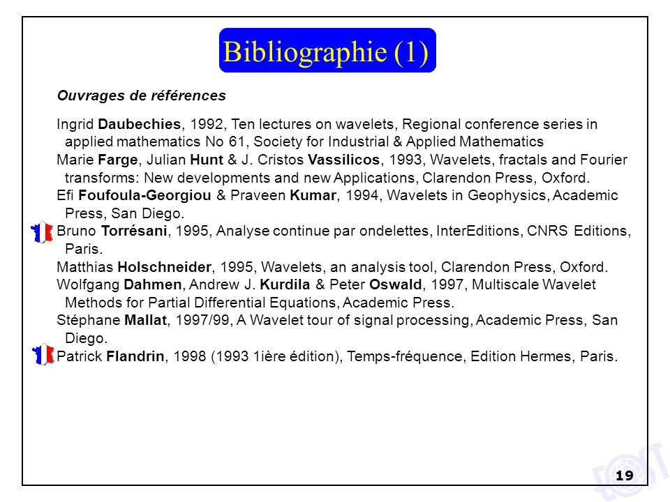 Bibliographie (1) Ouvrages de références