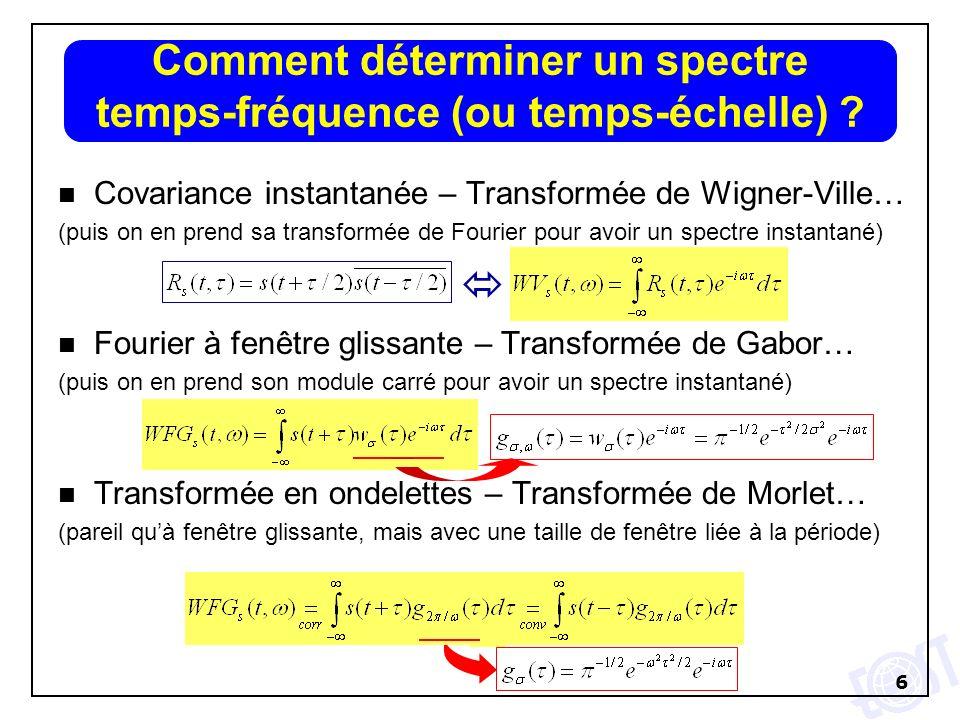 Comment déterminer un spectre temps-fréquence (ou temps-échelle)