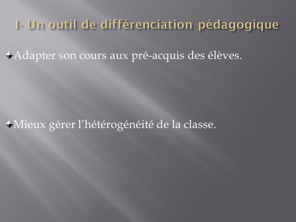 I- Un outil de différenciation pédagogique