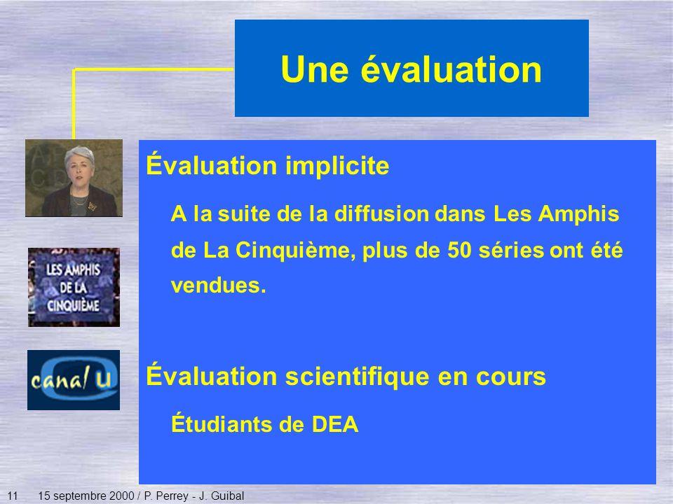 Une évaluation Évaluation implicite
