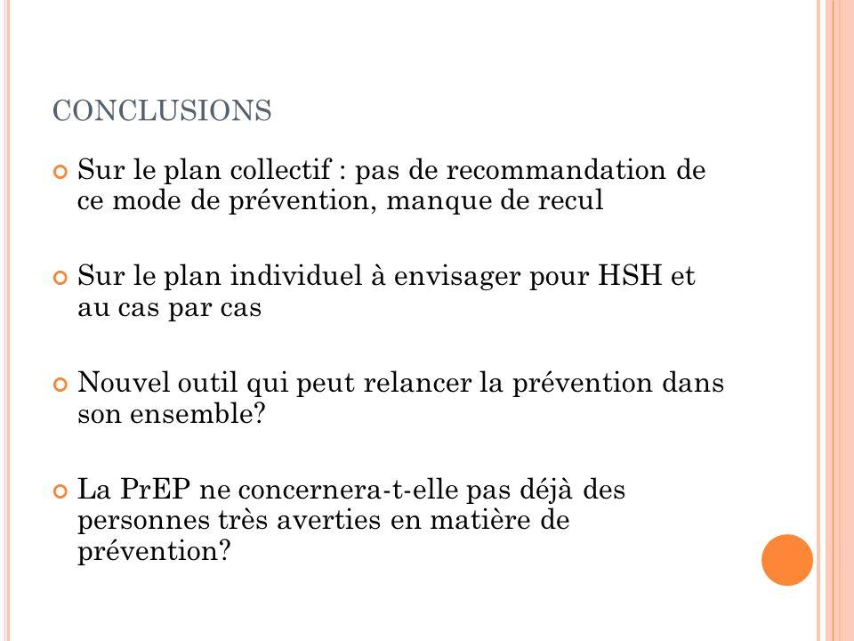 conclusions Sur le plan collectif : pas de recommandation de ce mode de prévention, manque de recul.