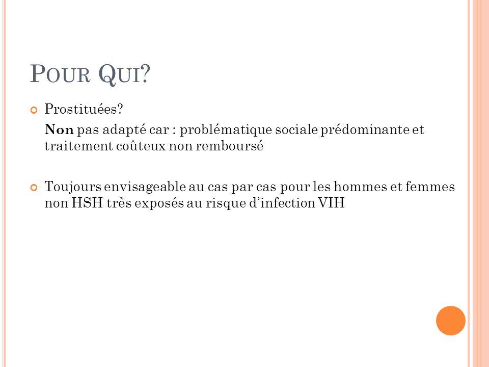 Pour Qui Prostituées Non pas adapté car : problématique sociale prédominante et traitement coûteux non remboursé.