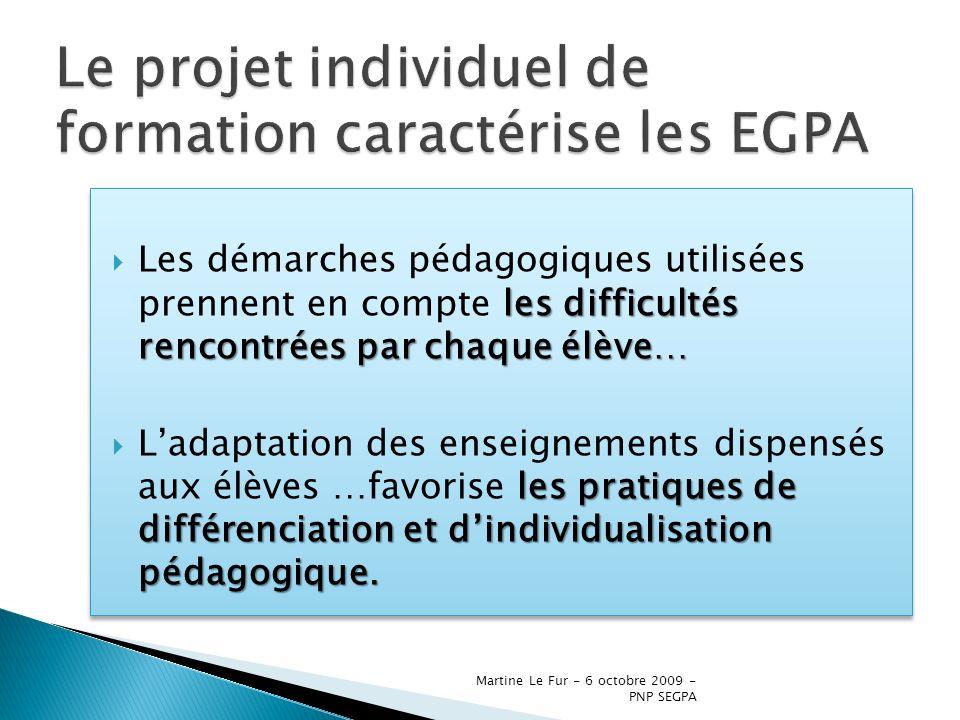 Le projet individuel de formation caractérise les EGPA