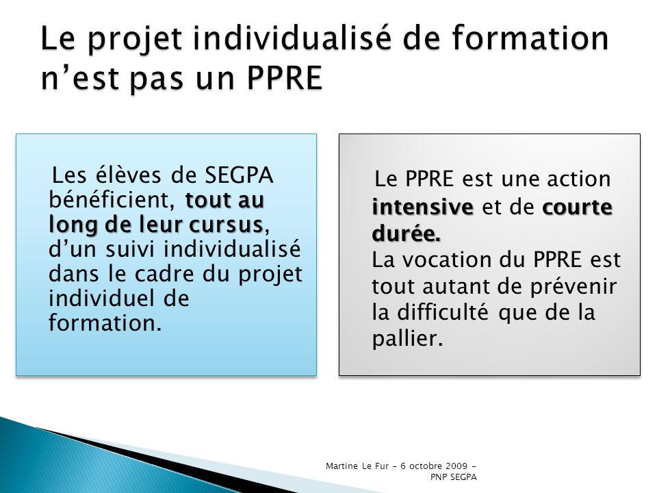 Le projet individualisé de formation n'est pas un PPRE