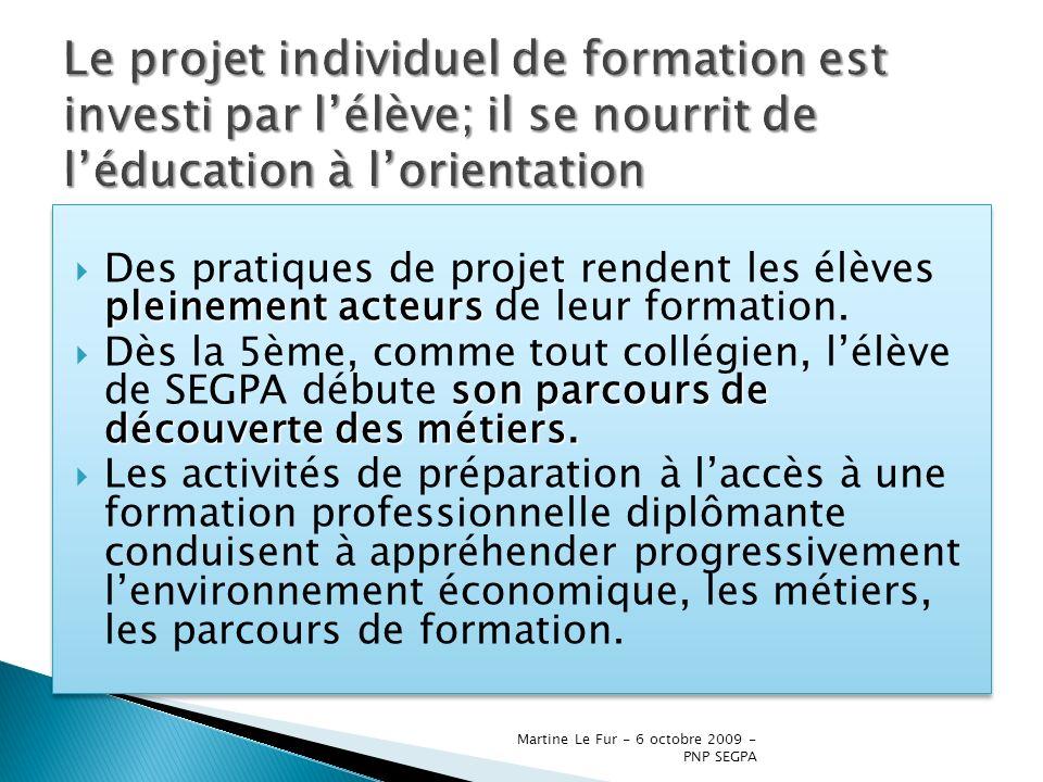 Le projet individuel de formation est investi par l'élève; il se nourrit de l'éducation à l'orientation