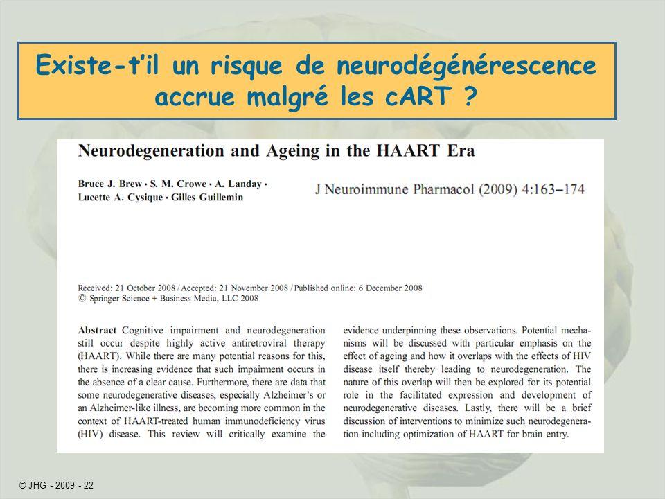 Existe-t'il un risque de neurodégénérescence accrue malgré les cART