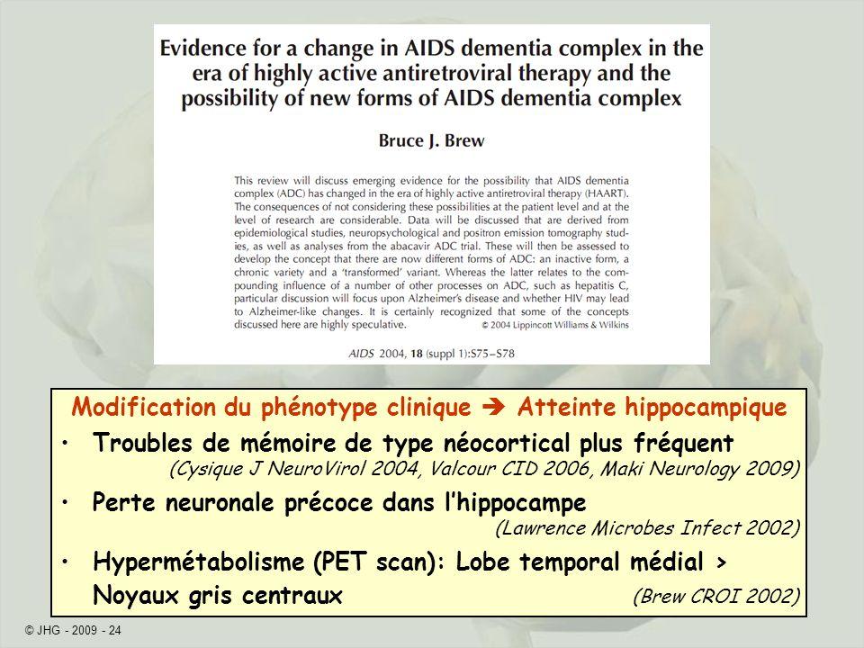 Modification du phénotype clinique  Atteinte hippocampique