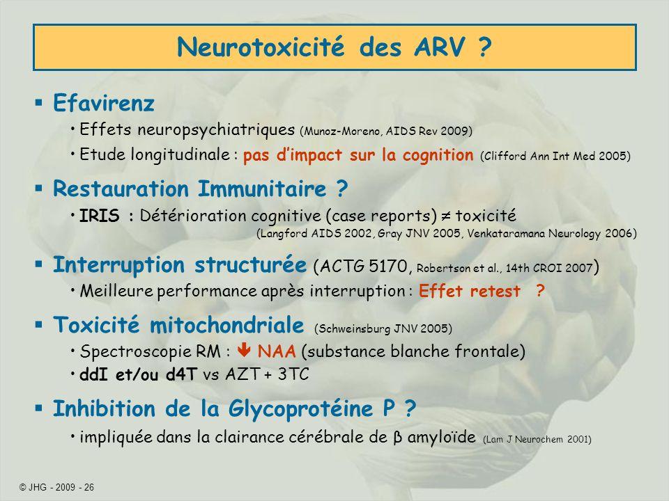 Neurotoxicité des ARV Efavirenz Restauration Immunitaire