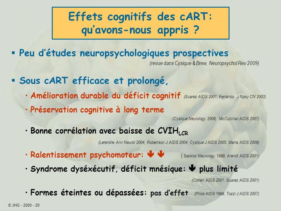 Effets cognitifs des cART: