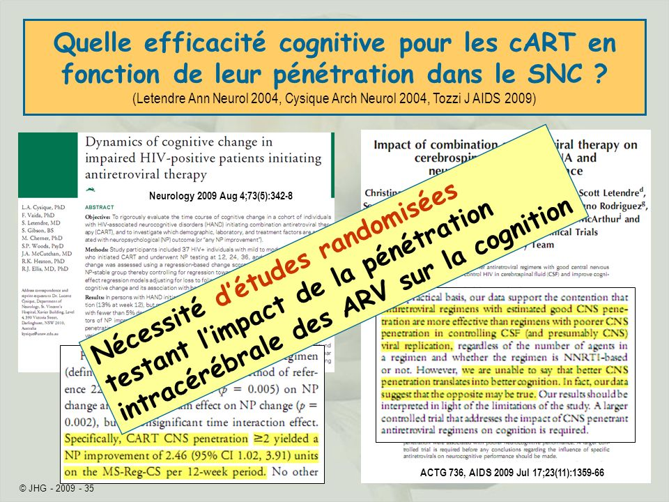 Quelle efficacité cognitive pour les cART en fonction de leur pénétration dans le SNC