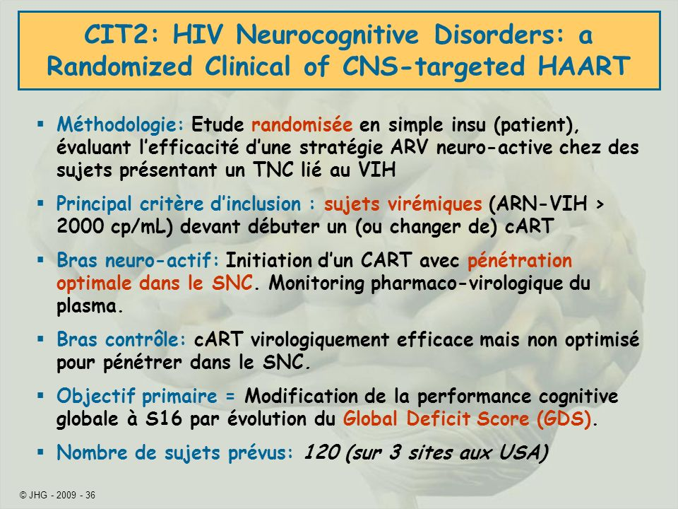 CIT2: HIV Neurocognitive Disorders: a Randomized Clinical of CNS-targeted HAART
