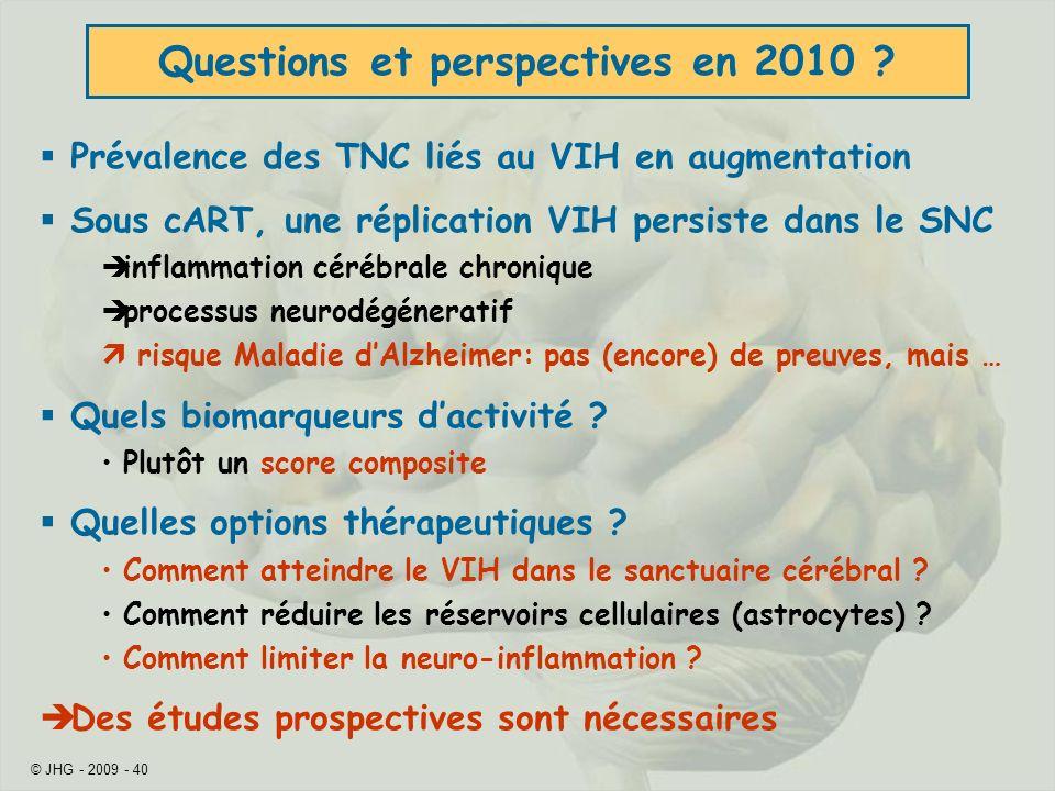 Questions et perspectives en 2010