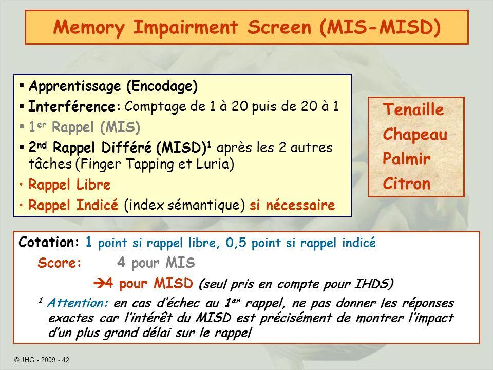 Memory Impairment Screen (MIS-MISD)