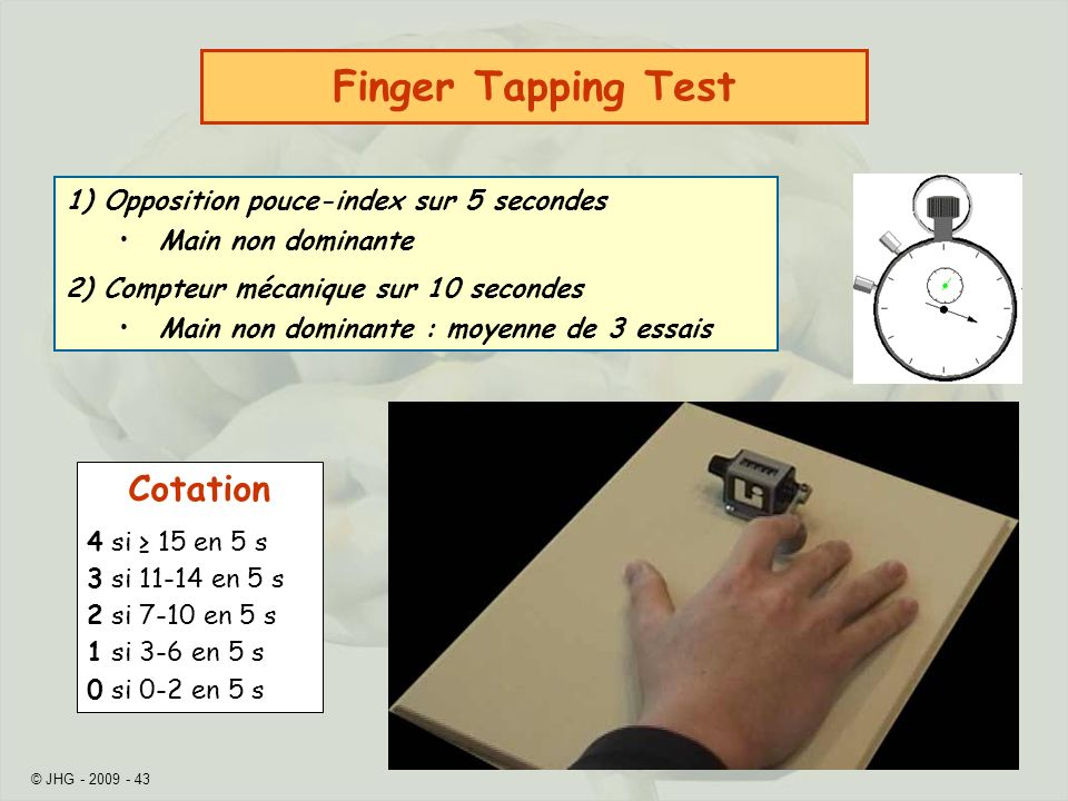 Finger Tapping Test Cotation 1) Opposition pouce-index sur 5 secondes