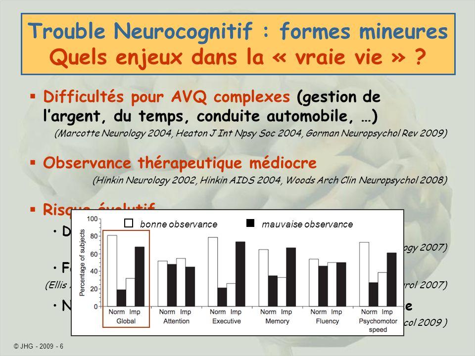 Trouble Neurocognitif : formes mineures Quels enjeux dans la « vraie vie »