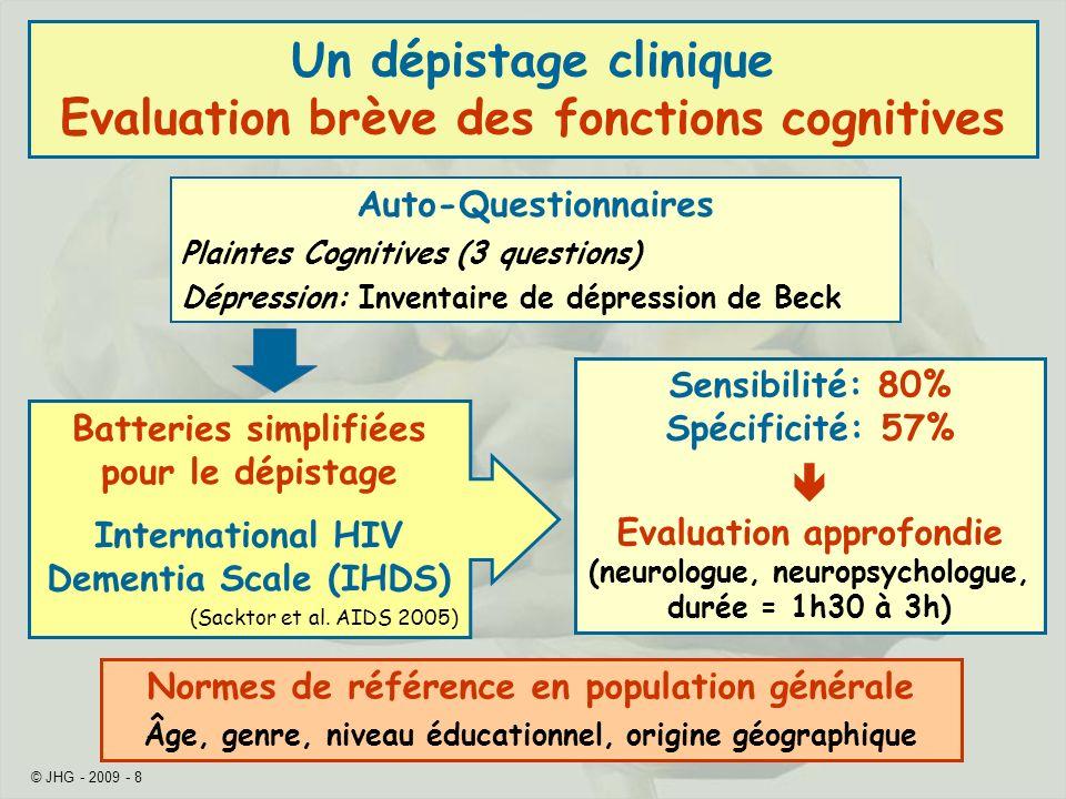 Un dépistage clinique Evaluation brève des fonctions cognitives