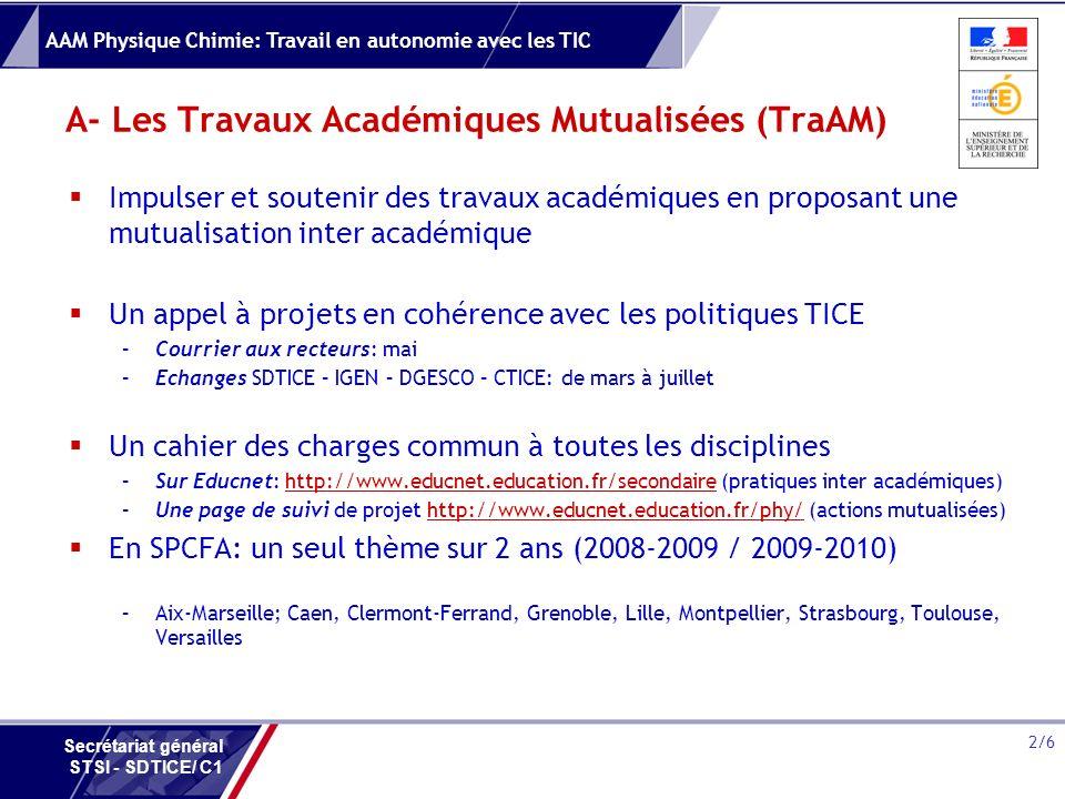 A- Les Travaux Académiques Mutualisées (TraAM)