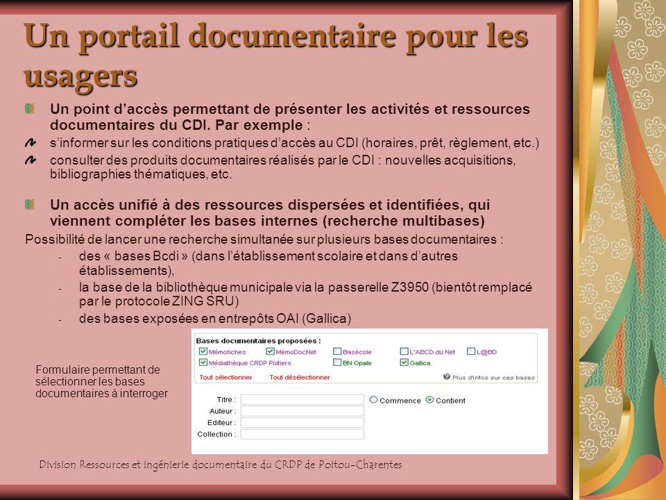 Un portail documentaire pour les usagers