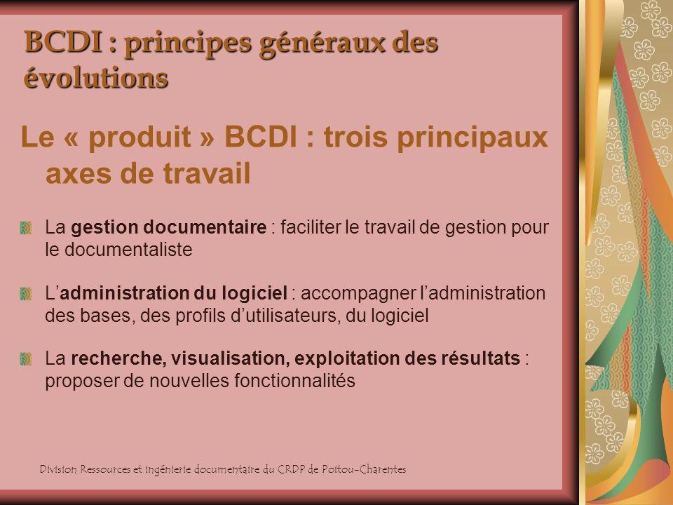 BCDI : principes généraux des évolutions