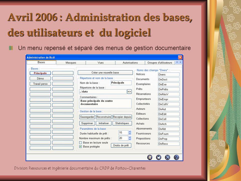 Avril 2006 : Administration des bases, des utilisateurs et du logiciel
